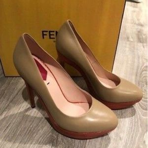 Fendi Nude Leather Pumps Size 7 Italy